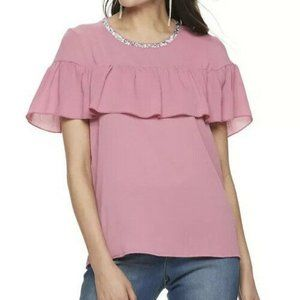 Juicy Couture NWT Cashmere Rose Ruffle Layer Top